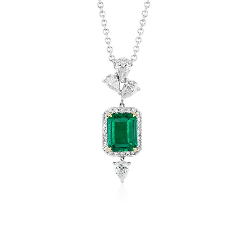 Elegant Emerald-Cut Emerald and Diamond Halo Pendant in 18k White