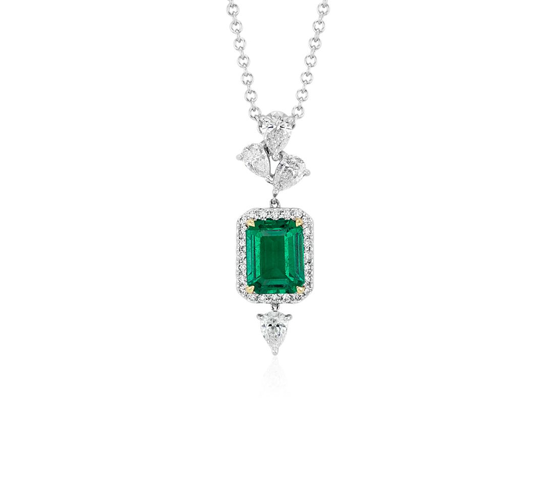 Elegant Emerald-Cut Emerald and Diamond Halo Pendant in 18k White and Yellow Gold (9x7mm)