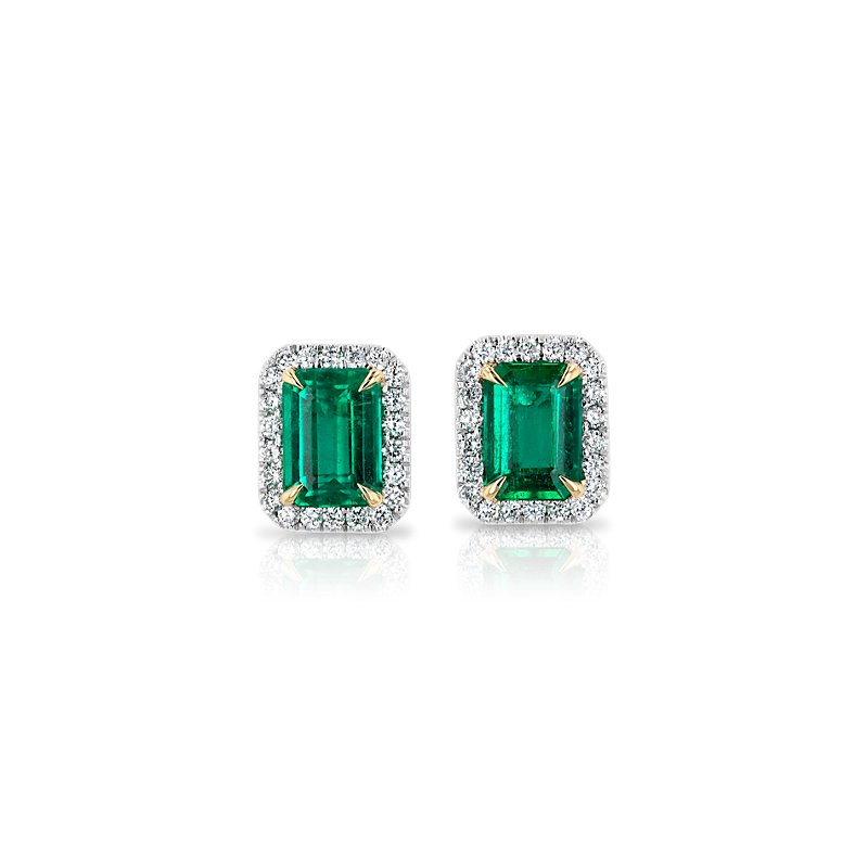 Emerald-Cut Emerald Stud Earrings with Diamond Halo in 14k White