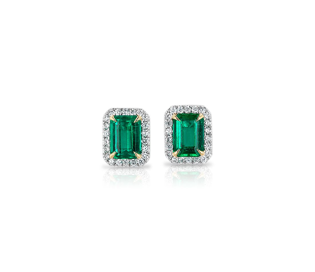 Emerald-Cut Stud Earrings with Diamond Halo in 14k White Gold with 14k Yellow Gold Prongs (7x5mm)