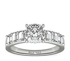 Bague de fiançailles diamant taille émeraude en platine