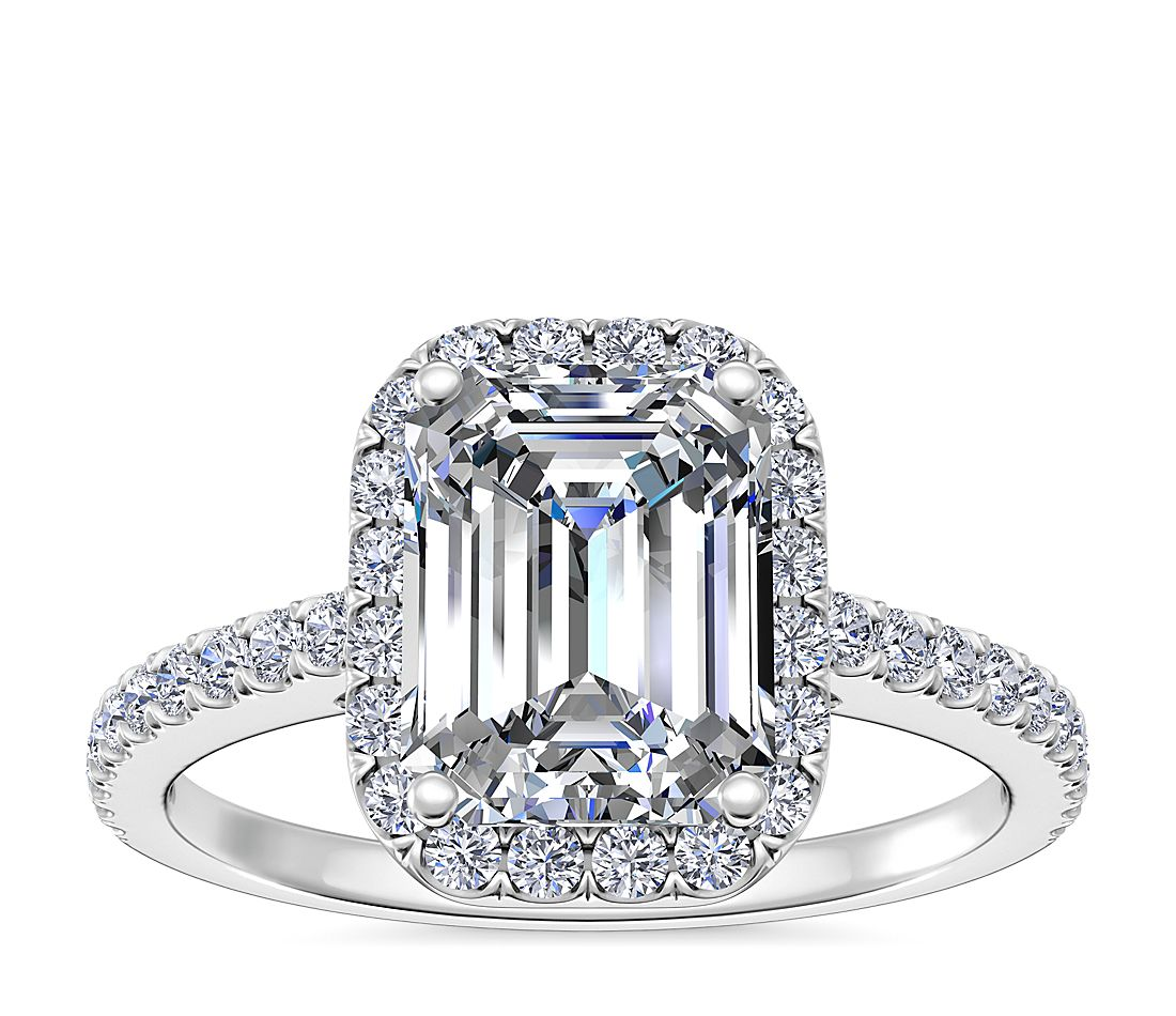 f334402015e98a Emerald Cut Halo Diamond Engagement Ring in 14K White Gold ...