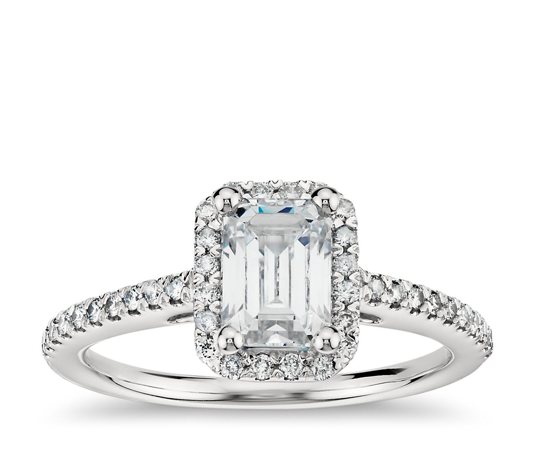 emerald cut halo diamond engagement ring in 14k white gold blue nile. Black Bedroom Furniture Sets. Home Design Ideas