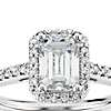 Emerald Cut Halo Diamond Engagement Ring in 14K White Gold