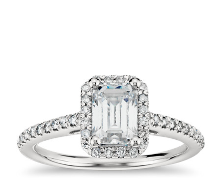in halo emerald cut engagement htm cz silver ring p rings