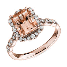 Emerald Cut Morganite Ring with Diamond Halo in 14k Rose Gold