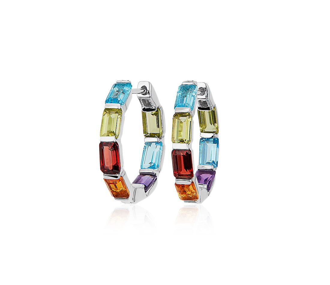 Emerald Cut Multi-Color Hoop Earrings in Sterling Silver (15mm)