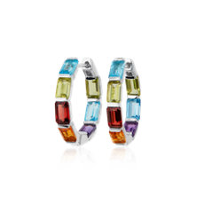 新款 925 純銀綠寶石形切割多彩圈形耳環 (15毫米)