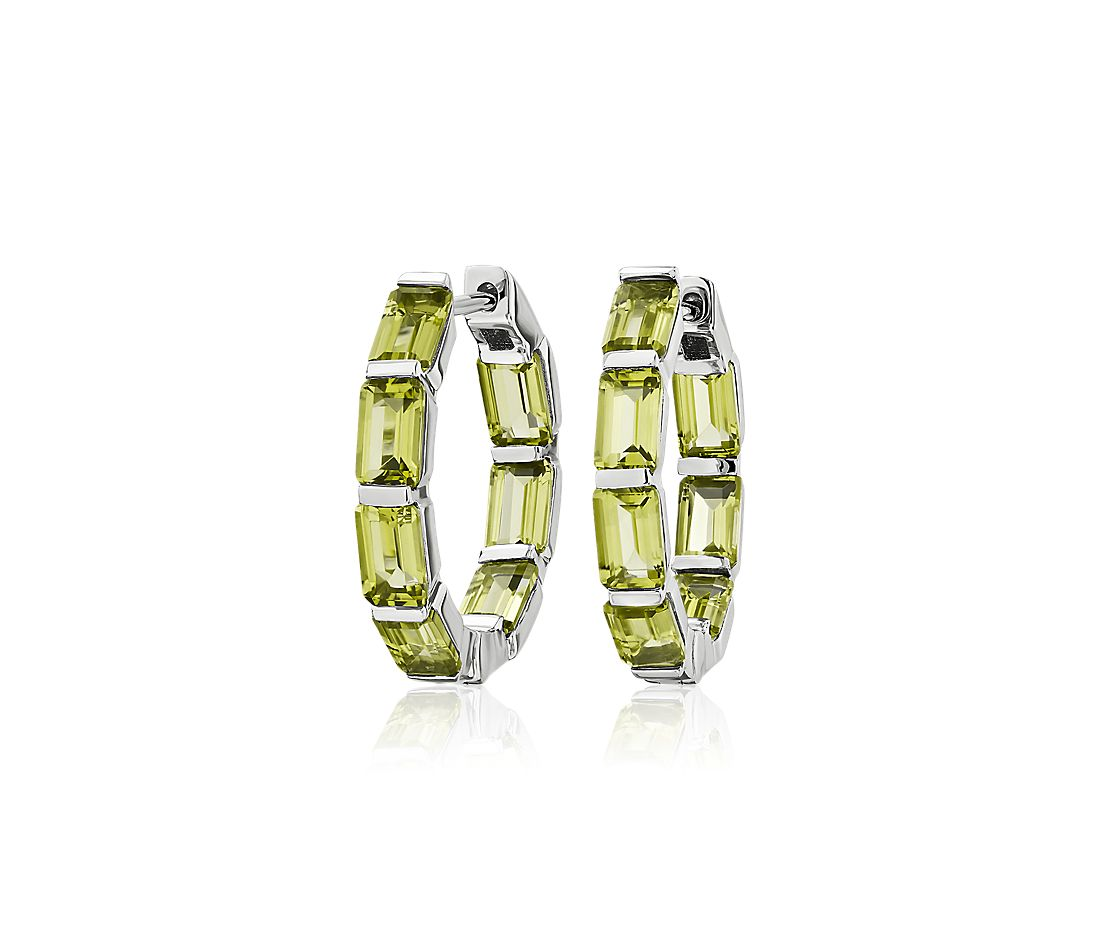 Emerald Cut Peridot Hoop Earrings in Sterling Silver (15mm)