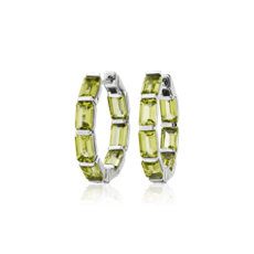 NEW Emerald Cut Peridot Hoop Earrings in Sterling Silver (15mm)
