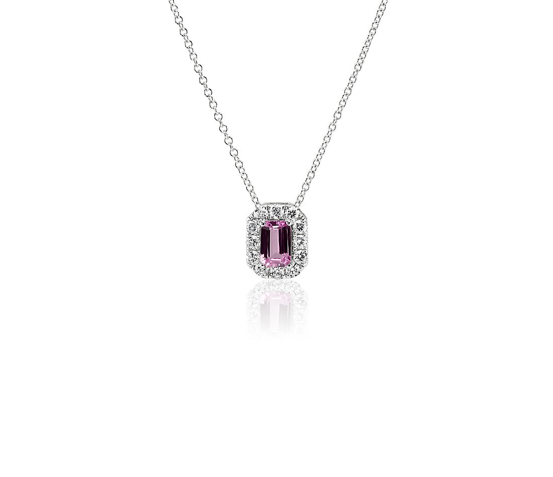 Emerald Cut Pink Sapphire and Diamond Halo Pendant in 14k White Gold (6x4mm)