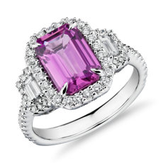 Emerald-Cut Pink Sapphire Ring with Diamond Trapezoid Sidestones in 18k White Gold (9.7x6.6mm)
