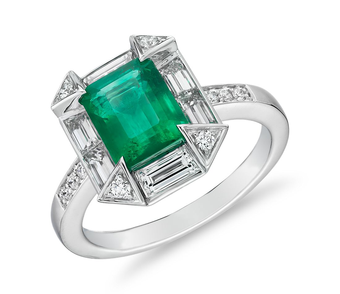 Emerald-Cut Emerald Ring with Baguette Halo and Diamond Prongs in 18k White Gold (8x6.4mm)