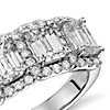 Emerald-Cut Five Stone Halo Diamond Ring in Platinum (3 ct. tw.)