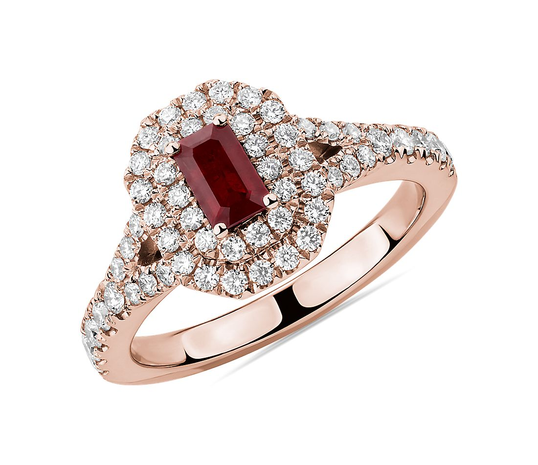 Emerald Cut Ruby and Diamond Double Halo Ring in 14k Rose Gold (5x3mm)
