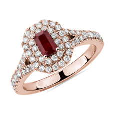 NEW Emerald Cut Ruby and Diamond Double Halo Ring in 14k Rose Gold (5x3mm)