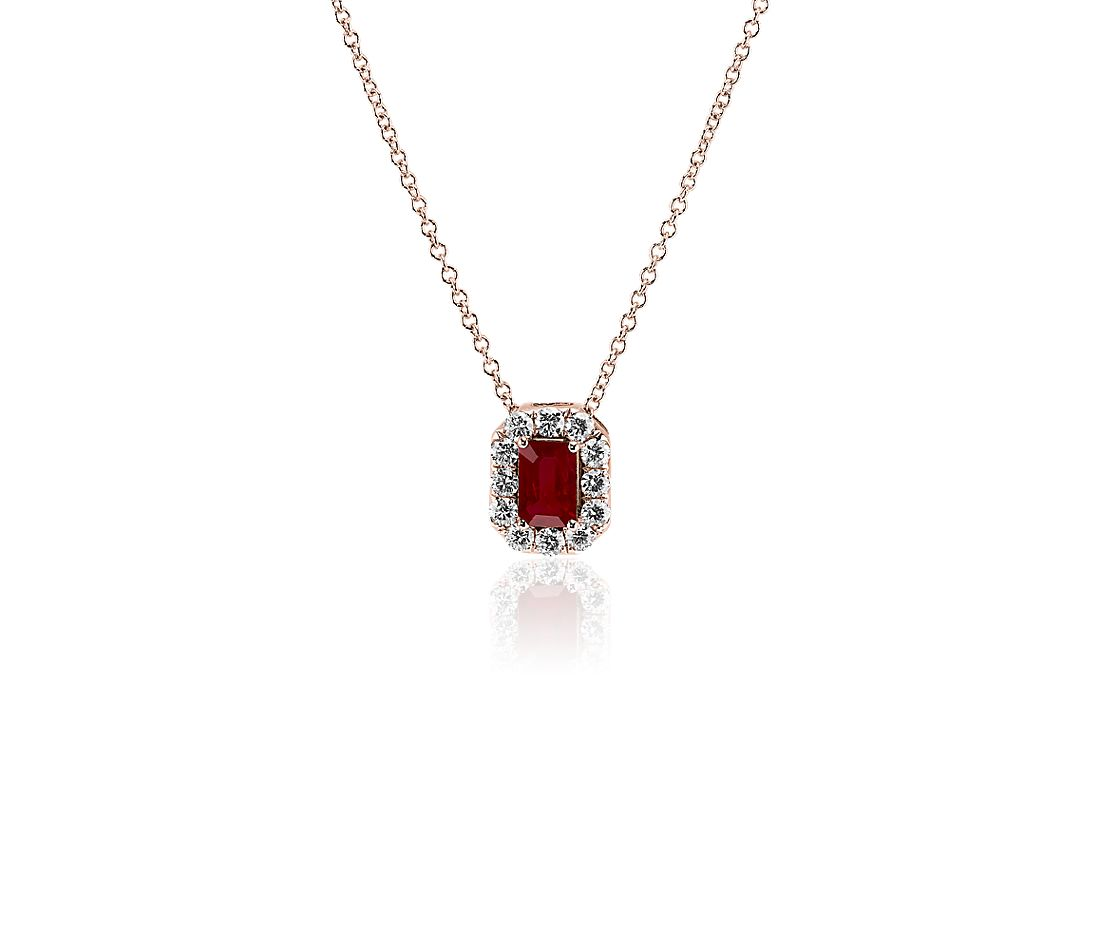 Emerald Cut Ruby and Diamond Halo Pendant in 14k Rose Gold (6x4mm)