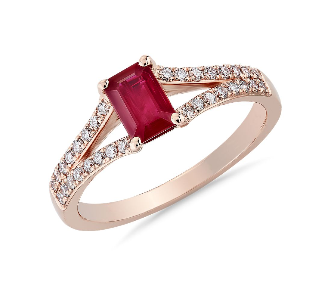 Emerald Cut Ruby and Diamond Ring in 14k Rose Gold