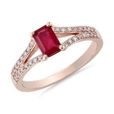 新款 14k 玫瑰金綠寶石形切割紅寶石與鑽石戒指