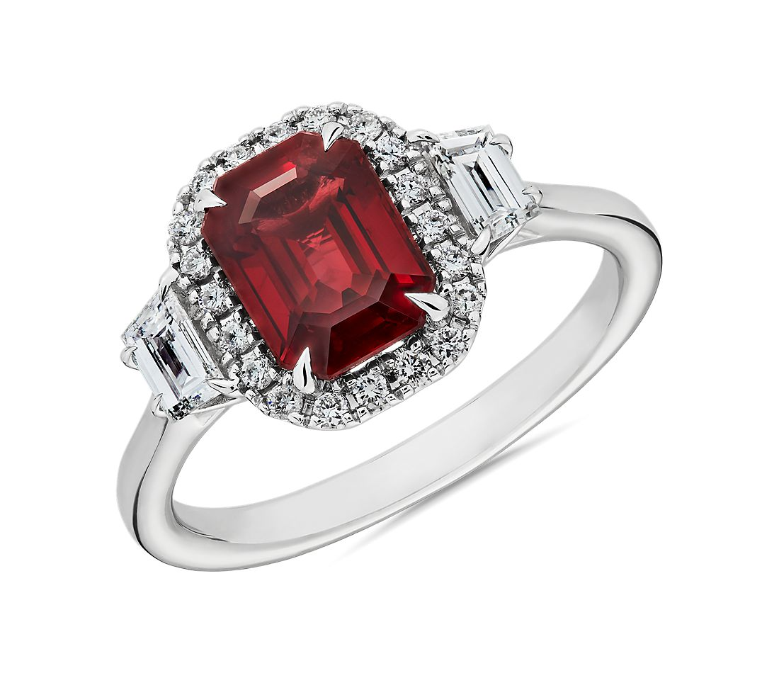 Emerald Cut Ruby and Trapezoid Diamond Ring in 18k White Gold