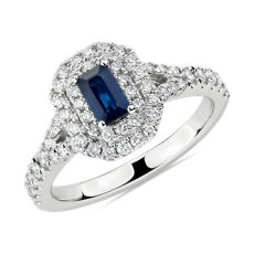 Emerald Cut Sapphire and Diamond Double Halo Ring in 14k White Gold (5x3mm)