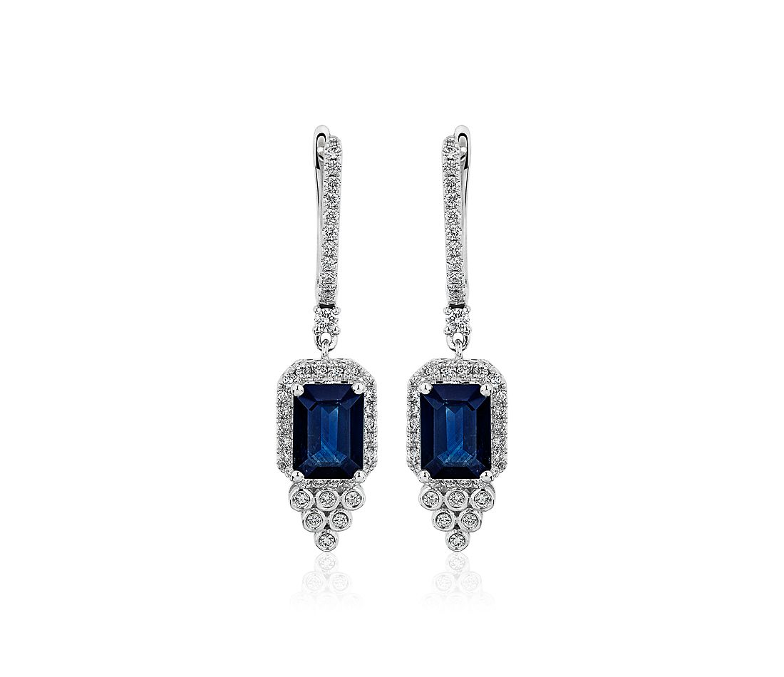 Emerald-Cut Sapphire and Diamond Drop Earrings in 14k White Gold