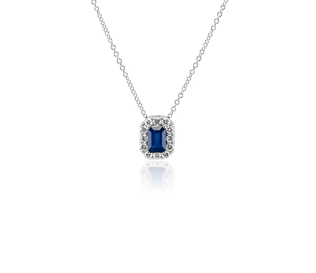 Emerald Cut Sapphire and Diamond Halo Pendant in 14k White Gold (6x4mm)