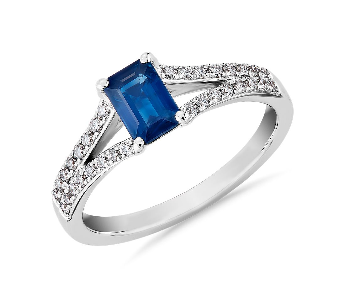 Emerald Cut Sapphire and Diamond Ring in 14k White Gold