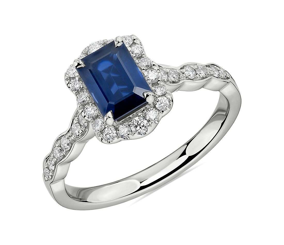 Emerald Cut Sapphire Ring with Diamond Halo in 14k White Gold