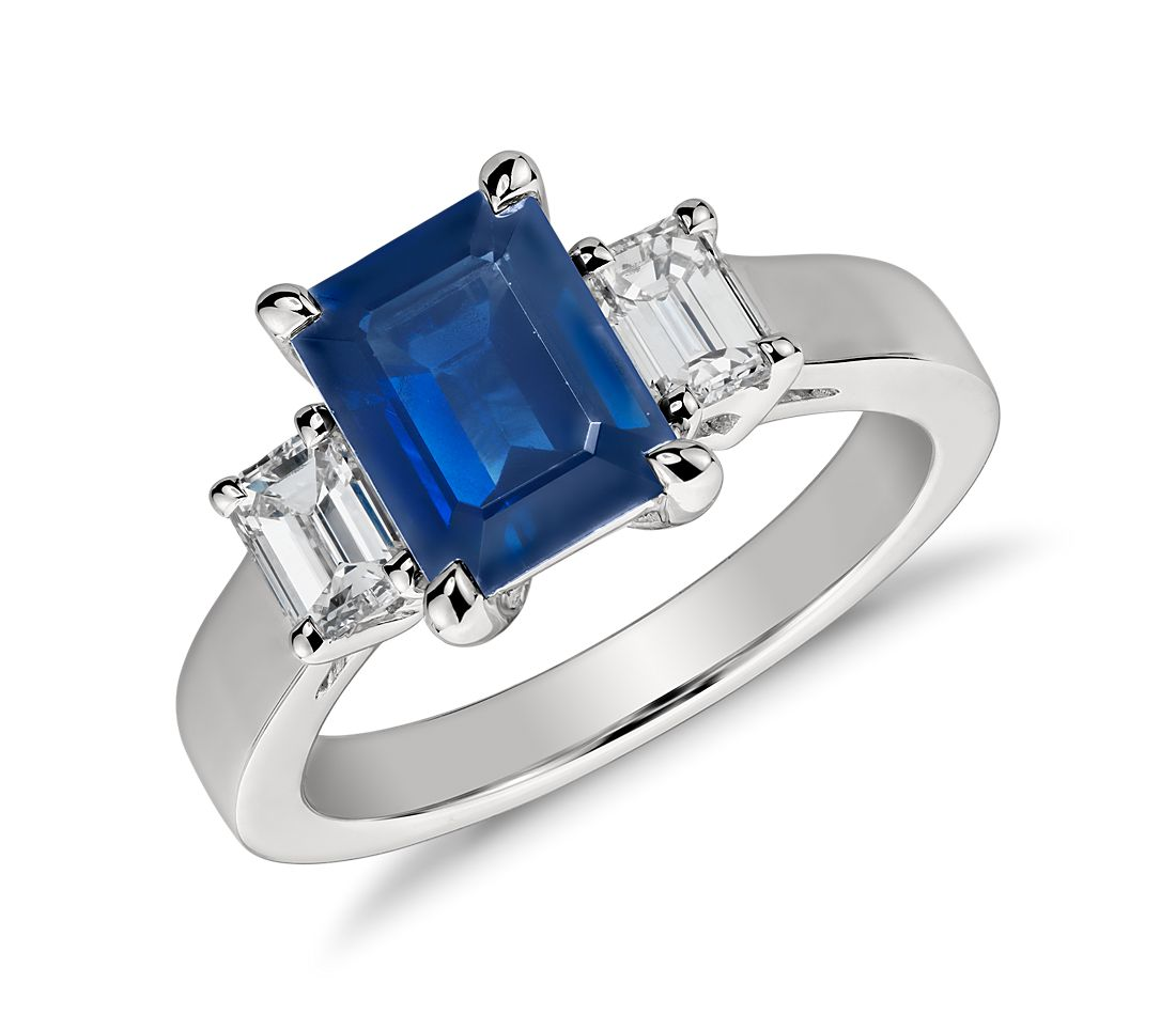 Emerald Cut Sapphire and Diamond Ring in Platinum (8x6mm)