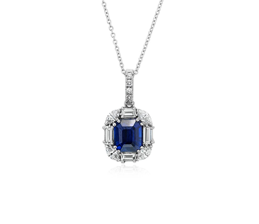 Emerald-Cut Sapphire Pendant with Baguette and Marquise-Shaped Diamond Halo in 18k White Gold (8x7mm)