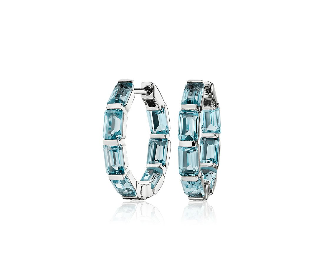 Emerald Cut Sky Blue Topaz Hoop Earrings in Sterling Silver (15mm)