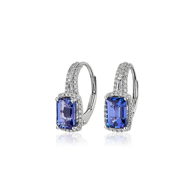 Emerald - Cut Tanzanite Drop Earrings in 14k White Gold