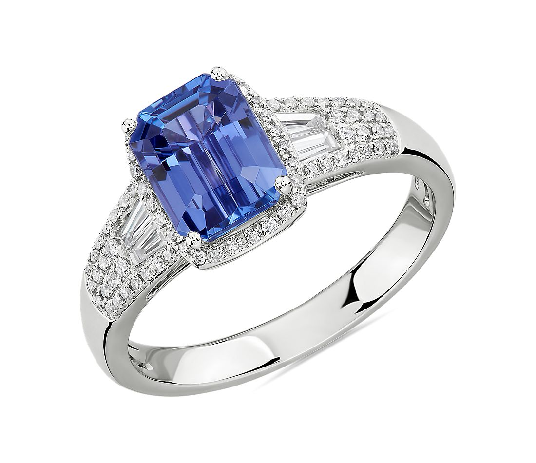 Emerald Cut Tanzanite Ring with Diamond Baguette Sidestones in 14k White Gold