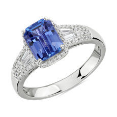 NEW Emerald Cut Tanzanite Ring with Diamond Baguette Sidestones in 14k White Gold