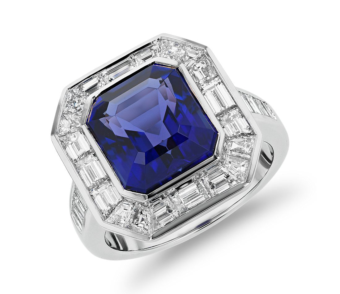 Emerald-Cut Tanzanite Ring with Baguette Diamond Halo in 18k White Gold