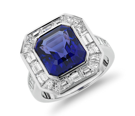 gold white ring and blue diamond tanzanite