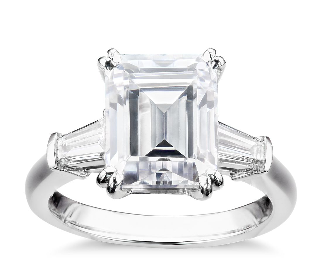 c530df2e99356 Shown with your selected diamond. Blue Nile Studio Emerald Tapered Baguette  Engagement Ring