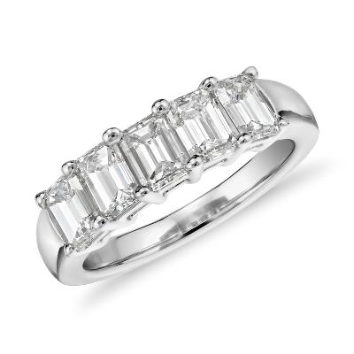 Five Stone Emerald Cut Diamond Ring in 18k White Gold 2 ct tw