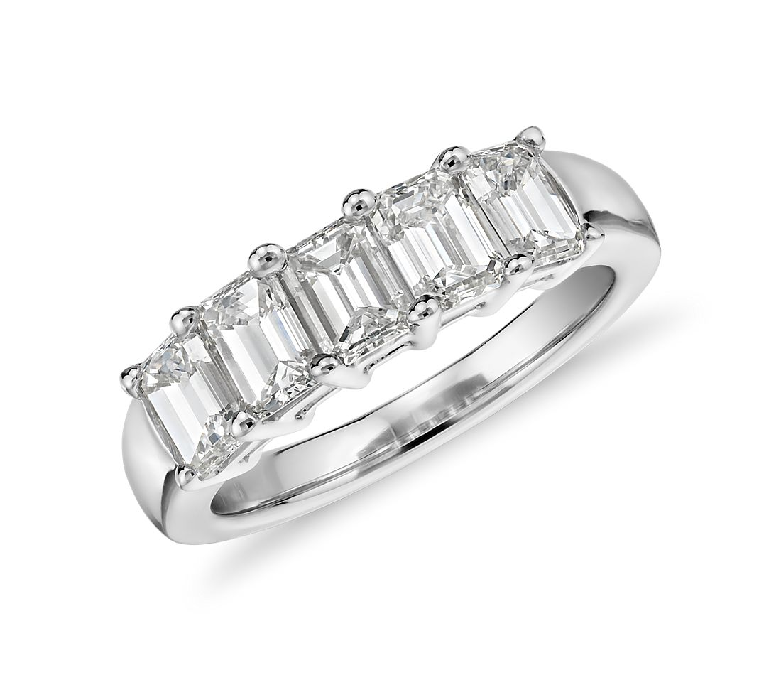 Five Stone Emerald Cut Diamond Ring In 18k White Gold (2
