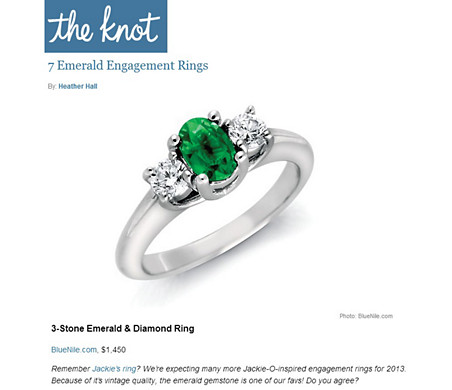 Emerald and Diamond Ring in 18k White Gold featured in The Knot.