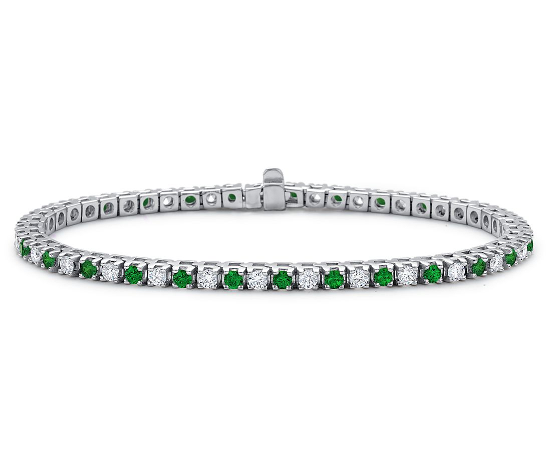 Emerald and Diamond Eternity Bracelet in 18k White Gold (1 1/2 ct. tw.)