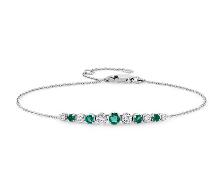 Emerald and Diamond Graduated Curve Bracelet in 14k White Gold