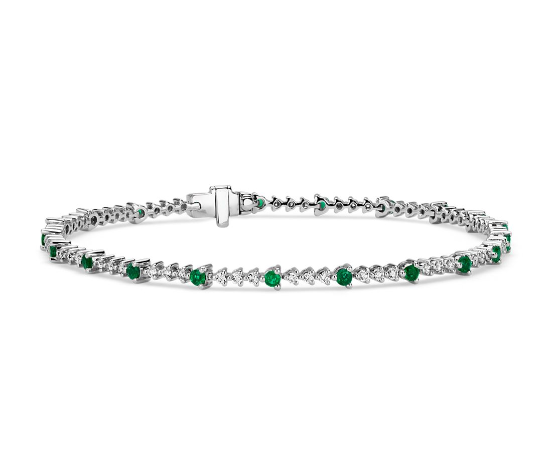 Emerald and Diamond Alternating Bracelet in 14k White Gold (2mm)