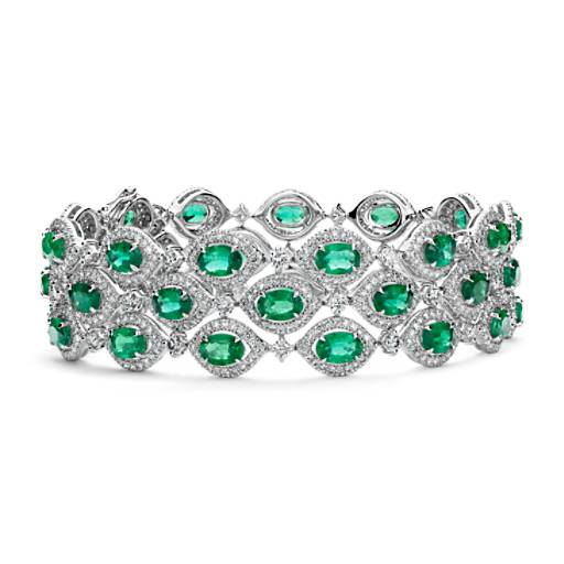 Triple Row Emerald And Diamond Halo Bracelet In 18k White