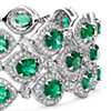 Triple Row Emerald and Diamond Halo Bracelet in 18k White Gold (6x4mm)