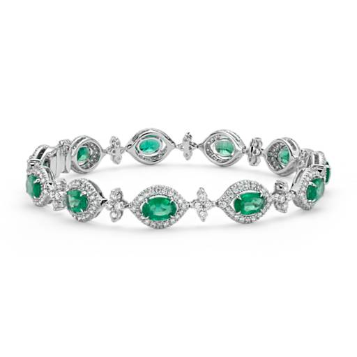 Emerald Oval And Diamond Halo Bracelet 18k White Gold (4