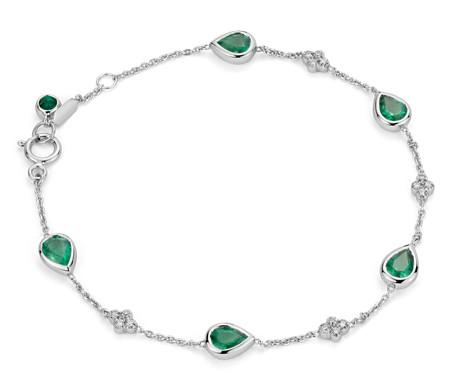 18k 白金 綠寶石與鑽石包邊手鍊<br>( 5x4毫米)