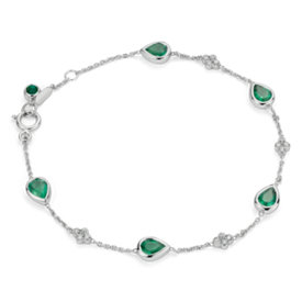 Emerald and Diamond Bezel Bracelet 18k White Gold (5x4mm)