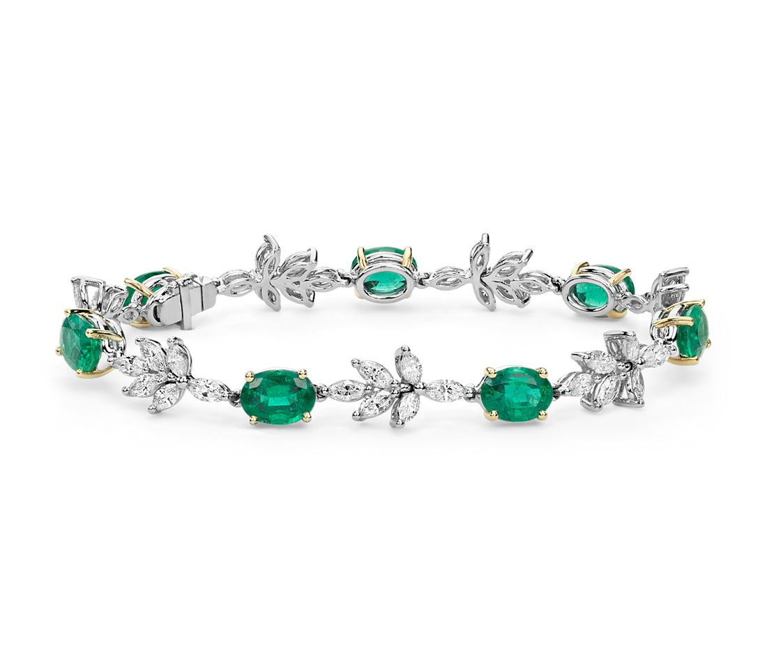 Emerald and Diamond Bracelet in 18k White and Yellow Gold (8x6mm)
